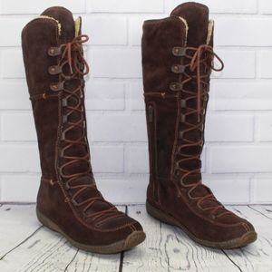 Timberland Tall Suede Lace Up Fleece Lined Boots